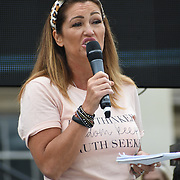 24 July 2021, Trafalgar London. Speaker Jaclyn Dunne in London to oppose covid vaccines and government restrictions, London, UK.