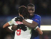 Football - 2019 / 2020 UEFA Champions League - Group H: Chelsea vs. Lille OSC<br /> <br /> Ex Chelsea player Loic Remy embraces with Kurt Kouma after the match, at Stamford Bridge.<br /> <br /> COLORSPORT/ANDREW COWIE