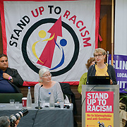 London, England, UK. 21st October 2017. Speaker Kate Hudson of CND at the National Conference: Confronting the rise in racism, Islamophobia and anti-semitism in the U.S. and Europe at the Friends House, Euston.