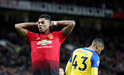 Manchester United's Marcus Rashford reacts to a missed chance during the Premier League match at Old Trafford, Manchester.