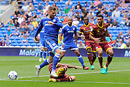 QPR's Grant Hall (on floor) tackles Cardiff City's Anthony Pilkington in the box. EFL Skybet championship match, Cardiff city v Queens Park Rangers at the Cardiff city stadium in Cardiff, South Wales on Sunday 14th August 2016.<br /> pic by Carl Robertson, Andrew Orchard sports photography.