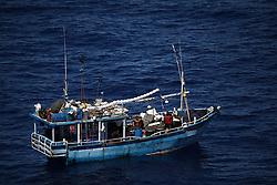 INDIAN OCEAN 24MAR13 - An unidentified Sri Lankan fishing vessel (IMUL-A-0607 CHW) drifts in the Chagos EEZ in the Indian Ocean.<br /> <br /> <br /> <br /> The Greenpeace ship Esperanza is on patrol in the Indian ocean documenting illegal fishing vessels.<br /> <br /> <br /> <br /> jre/Photo by Jiri Rezac / Greenpeace
