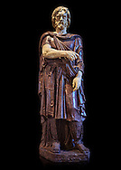 Statue of a Captive Barbarian - a 2nd century Ad Roman sculpture made in Porphyry and white marble from Rome, Italy. Restored by Pietro Benini brother of Bernin. The head and hands do not belong to the statue. The head is wearing a hat Phyrigian hat and recalls the same style as the famous Farnese Prisoners statues who were defeated Dacians from the Forum of Trajan (98-117 AD). The statue was from the facade of the Villa Borghese. The Borghese Collection Inv No. MR 331 or Ma 1385, Louvre Museum, Paris..<br /> <br /> If you prefer to buy from our ALAMY STOCK LIBRARY page at https://www.alamy.com/portfolio/paul-williams-funkystock/greco-roman-sculptures.html- Type -    Louvre    - into LOWER SEARCH WITHIN GALLERY box - Refine search by adding a subject, place, background colour,etc.<br /> <br /> Visit our CLASSICAL WORLD HISTORIC SITES PHOTO COLLECTIONS for more photos to download or buy as wall art prints https://funkystock.photoshelter.com/gallery-collection/The-Romans-Art-Artefacts-Antiquities-Historic-Sites-Pictures-Images/C0000r2uLJJo9_s0c