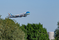© Licensed to London News Pictures. 13/06/2021. London, UK. President of the United States, Joe Biden, departs from London Heathrow Airport on board Air Force 1 following the conclusion of the G7 summit in Cornwall. Photo credit: Peter Manning/LNP
