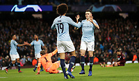 Football - 2018 / 2019 UEFA Champions League - Group F: Manchester City vs. 1899 Hoffenheim<br /> <br /> Leroy Sane of Manchester City celebrates scoring his second goal with Phil Foden of Manchester City at The Etihad.<br /> <br /> COLORSPORT/LYNNE CAMERON