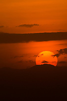 The sun setting over Amboseli National Park, Kenya