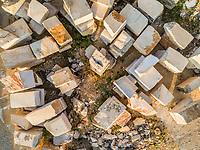 Aerial abstract view of Brac stone bricks in quarry, Brac island, Croatia.