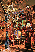 Urban holiday lights and decorations in Reading, PA