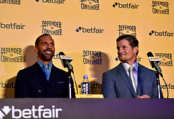 Rio Ferdinand and trainer Mel Deane during the press conference at York Hall, London.