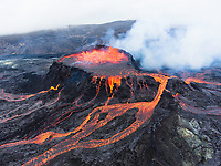 Aerial View of the Fagradalsfjall Volcano Erupting in Iceland. Taken on 31st August 2021.