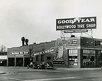 1933 Farquhar's Hollywood Tire Shop at 6472 Sunset Blvd. shortly after the Wilcox Ave. location was built.