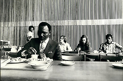 Oct. 10, 1975 - General Gowon takes degree course at Warwick University : General Yakubu Gowon, 40, who was deposed as President of Nigeria last July, is taking a degree course at Warwick University. He is to read for a B.A. in politics and international studies. Photo shows General Gowon sits alone as he tackles a plate of curry and chips in the University refectory today. (Credit Image: © Keystone Press Agency/Keystone USA via ZUMAPRESS.com)