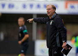 RHYL, WALES - Monday, September 4, 2017: Wales under-19 manager Paul Bodin shouts out instructions during an Under-19 international friendly match between Wales and Iceland at Belle Vue. (Pic by Paul Greenwood/Propaganda)