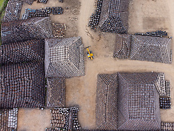 Aerial view from drone of scotch whisky barrels at Speyside Cooperage in  Craigellachie, Banffshire, Scotland, UK