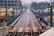 Oporto, December 2012. Luiz 1st bridge on steel, for train and car transportation. Upper platform for trains. Connects Oporto and Vila Nova de Gaia over Douro river. Engineering Teofilo Seyring 1881 - 1886. 172 meters 564 feet.