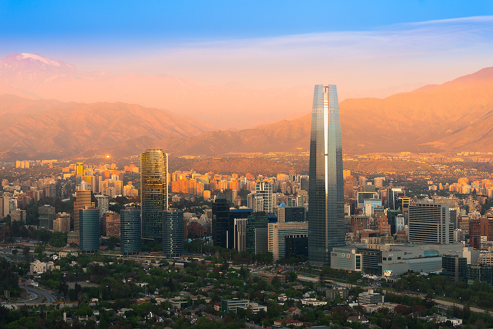 Panoramic view of Santiago de Chile with Costanera Center skyscraper <br /> <br /> For LICENSING and DOWNLOADING this image follow this link: http://www.masterfile.com/em/search/?keyword=600-07784441&affiliate_id=01242CH84GH28J12OOY4<br /> <br /> For BUYING A PRINT of this image press the ADD TO CART button.<br /> <br /> Download of this image is not available at this site, please follow the link above.