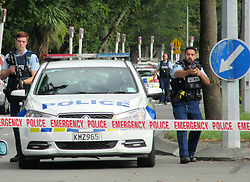 March 15, 2019 - Christchurch, New Zealand - At least 49 people have been killed and 48 wounded in terrorist attacks in two mosques in Christchurch, New Zealand. Armed police cordon off the area near one of the mosques, located on Deans Ave. (Credit Image: © Russian Look via ZUMA Wire)