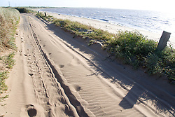 New road covered with sand at Spurn Head; East Yorkshire; England
