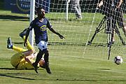 Auckland City Micah Lea'Alafa scores a goal in the Handa Premiership football match, Hawke's Bay v Auckland, Bluewater Stadium, Napier, Sunday, January 20, 2019. Copyright photo: Kerry Marshall / www.photosport.nz