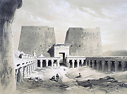 Edfou', 1845.  Lithograph after Henry Pilleau (1813-1899) English artist.  View inside arcaded court, looking towards the gateway (pylon).  Temple of Horus, falcon-headed god, 237-57 BC. Ancient Egypt Archaeology  Religion Mythology
