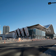Construction crews continue work on the new section of the Las Vegas Convention Center in Las Vegas, Nevada on Saturday, October 17, 2020. (Alex Menendez via AP)