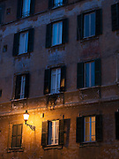 Residential building at night, Rome, Italy
