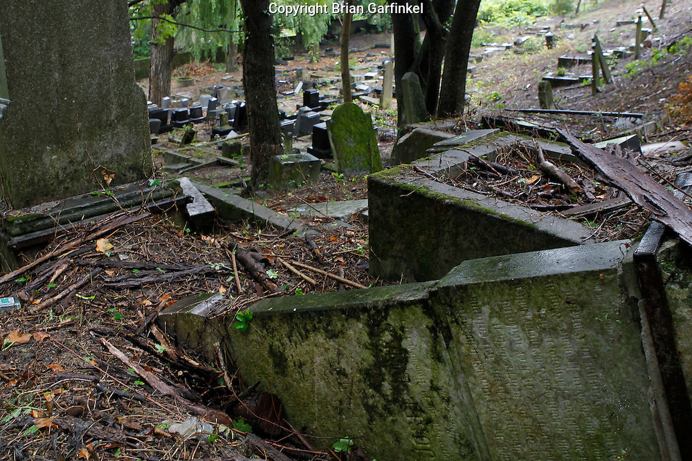 Grave stones lay on the ground in the Jewish Cemetery in Povazka Bystrica, Slovakia on Sunday July 3rd 2011. (Photo by Brian Garfinkel)