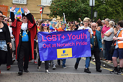 Mayor David Fullman joining Pride 2017, Norwich UK, 29 July 2017