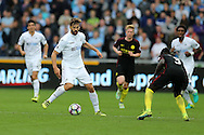 Fernando Llorente of Swansea city (l) in action. Premier league match, Swansea city v Manchester city at the Liberty Stadium in Swansea, South Wales on Saturday 24th September 2016.<br /> pic by Andrew Orchard, Andrew Orchard sports photography.