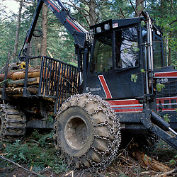 Sidney, ME. Selective Logging. Green Certification.  A lower impact Valmet forwarder during a selective harvest in Maine.