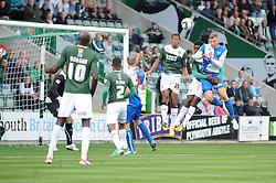 Bristol Rovers' Ryan Brunt heads the ball towards goal  - Photo mandatory by-line: Dougie Allward/JMP - Tel: Mobile: 07966 386802 07/09/2013 - SPORT - FOOTBALL -  Home Park - Plymouth - Plymouth Argyle V Bristol Rovers - Sky Bet League Two