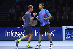 November 14, 2017 - London, United Kingdom - Henry Kontinen of Finland and John Peers of Australia celebrates a point in their Doubles match against Jean-Julien Rojer of Netherland during Nitto ATP World Tour Finals at the O2 Arena, London on November 14, 2017. (Credit Image: © Alberto Pezzali/NurPhoto via ZUMA Press)