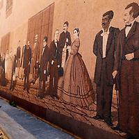 Central America, Cuba, Havana. Mural depicting colonial life and personalities in Cuba.