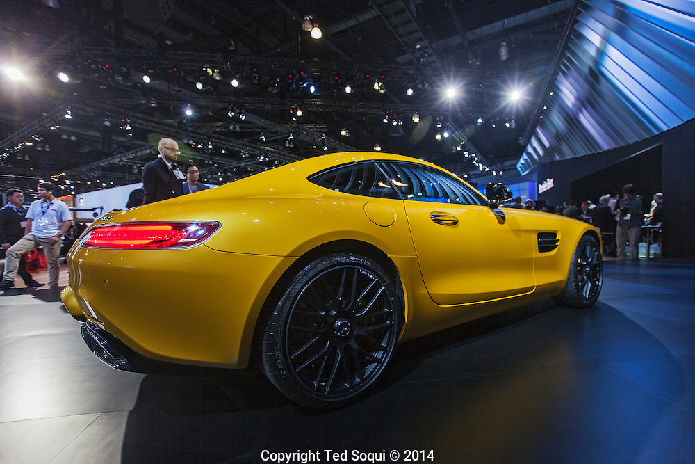 The 2014 Los Angeles Auto Show at the Los Angeles Convention Center.<br /> A 2016 Mercedes Benz AMG-GTS. The engine is a twin turbo V8 that produces 503hp, and has a 7 speed automatic transmission. No price yet.