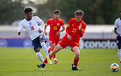 NEWPORT, WALES - Friday, September 3, 2021: England's Kian Pennant (L) and Wales' Harry Jewitt-White during an International Friendly Challenge match between Wales Under-18's and England Under-18's at Spytty Park. (Pic by David Rawcliffe/Propaganda)