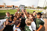 Utah Valley University celebrates winning the Shield trophy at Red Bull Uni 7s Rugby Qualifiers at Infinity Park in Glendale, CO, USA, on 25 August, 2016.
