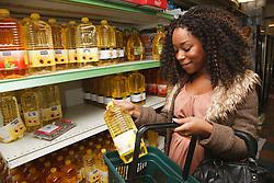 Young black woman shopping.
