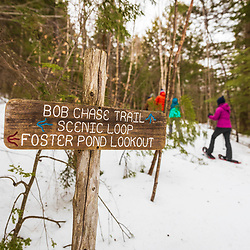 Snowshoeing at Loon Echo Land Trust's Bald Pate Mountain Preserve in South Bridgton, Maine.