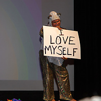 The MC, Panda, for the True Colors Drag Show at the El Morro Theatre Saturday night started off the evening with a song and dance to celebrate self love for the last event of the Gallup PRIDEfest.