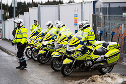 Livingston, Scotland, UK. 28 January 2020. Prime Minister Boris Johnson arrives at Valneva vaccine production plant in Livingston on his visit to Scotland. The plant has commenced production of vaccines today. Pic; tight security surrounded the Prime Minister's visit. Iain Masterton/Alamy Live News