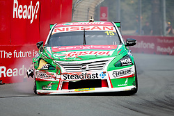 October 19, 2018 - Gold Coast, QLD, U.S. - GOLD COAST, QLD - OCTOBER 19: Garry Jacobson in the Castrol Racing Nissan Ultima hits the wall during Friday practice at The 2018 Vodafone Supercar Gold Coast 600 in Queensland on October 19, 2018. (Photo by Speed Media/Icon Sportswire) (Credit Image: © Speed Media/Icon SMI via ZUMA Press)