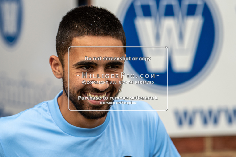 BROMLEY, UK - SEPTEMBER 22: Barney Williams, of Cray Wanderers FC, before the Emirates FA Cup Second Round Qualifier match between Cray Wanderers and Soham Town Rangers at Hayes Lane on September 22, 2019 in Bromley, UK. <br /> (Photo: Jon Hilliger)