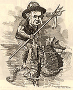 James Staats Forbes (1823-1904) English engineer and administrator who studied engineering with Isambard Kingdom Brunel. For many years manager of the London Chatham and Dover Railway. He is depicted riding two sea horses and carrying a trident on which is impaled a document labelled 'Channel Tunnel Scheme' and 'London Chatham and Dover Railway'.   Cartoon by Edward Linley Sambourne in Punch's Fancy Portraits series from 'Punch' (London, 17 February 1883).