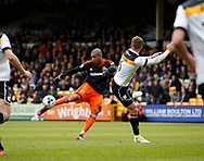 Leon Clarke of Sheffield Utd scores the second goal during the English League One match at Vale Park Stadium, Port Vale. Picture date: April 14th 2017. Pic credit should read: Simon Bellis/Sportimage