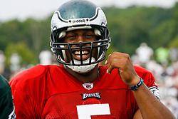 Philadelphia Eagles quarterback Donovan McNabb #5 smiles during the Philadelphia Eagles NFL training camp in Bethlehem, Pennsylvania at Lehigh University on Saturday August 1st 2009. (Photo by Brian Garfinkel)