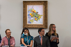 © Licensed to London News Pictures. 19/06/2018. LONDON, UK. ''Citrons Sur Une Branche'' by Claude Monet, (Est. £2,500,000 - 3,500,000) failed to sell at Sotheby's Impressionist & Modern art evening sale in New Bond Street.  Photo credit: Stephen Chung/LNP