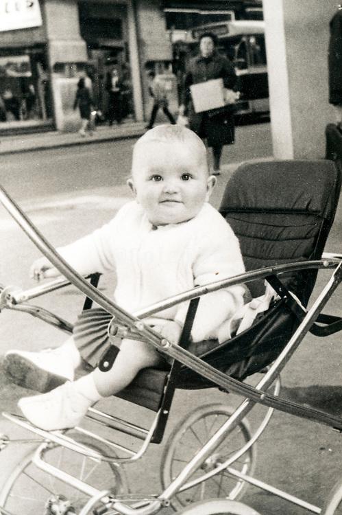 toddler in a stroller ca 1960s