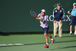 March 7, 2019 - Indian Wells, CA, U.S. - INDIAN WELLS, CA - MARCH 07: Yoshihito Nishioka (JPN) hits a backhand during the BNP Paribas Open on March 7, 2019 at Indian Wells Tennis Garden in Indian Wells, CA. (Photo by George Walker/Icon Sportswire) (Credit Image: © George Walker/Icon SMI via ZUMA Press)