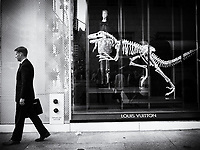 Unsuspecting man passes a dangerous window display at the louis Vuitton store on 57th street and Fifth Avenue, New York City.