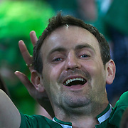 A Irish fan during the Ireland V Italy Pool C match during the IRB Rugby World Cup tournament. Otago Stadium, Dunedin, New Zealand, 2nd October 2011. Photo Tim Clayton...